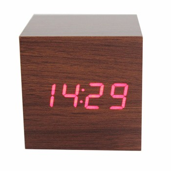 2018 Best selling desk cube Wood LED alarm clock comply with CE ROHS - S714