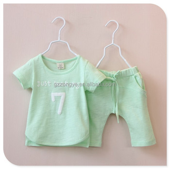 2015 kids 100% cotton summer casual suits girls short sleeve tops and long pants casual suits OEM supply