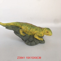 Green and Yellow Iguana on a Rock Decorative Reptile Figurine Polyresin Resin