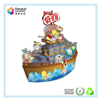 ship-shaped customized paper display pallets for promotion