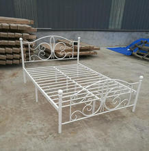 New modern wooden slatted double bed designs simple European bed frame on sales