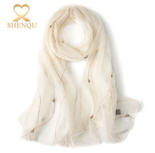 2017 New wholesale Women's elegant Lightweight Blended Soft Embroidery white wool mixed silk scarf