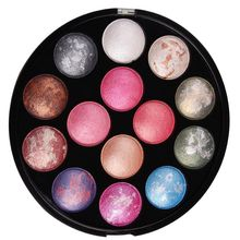 OEM Beauty makeup palette 14 color delicate flower colorful baking powder Round baked color palette glitter Eyeshadow