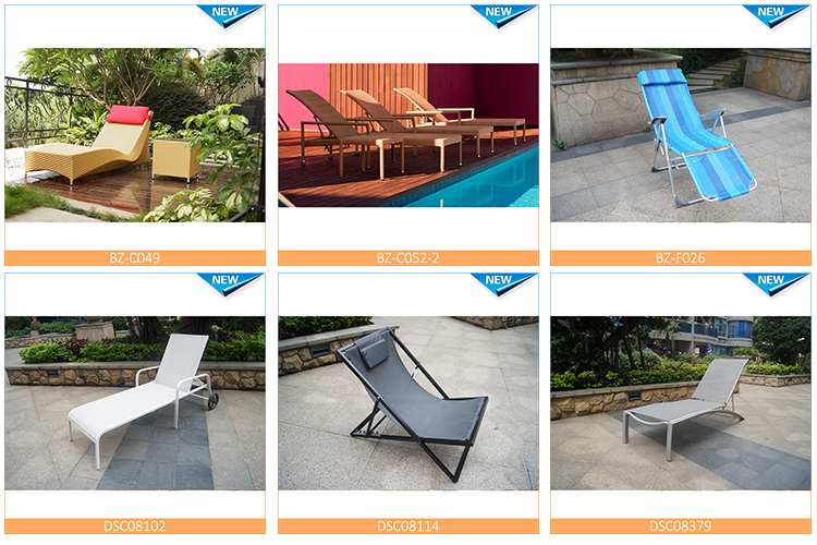 Outdoor sling furniture aluminum chaise lounge chair/stackable mesh sun lounger