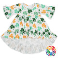 new design baby girls st. patrick's day outfit green clover print long sleeve party girls one piece dress