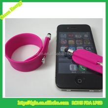 Wholesale Promotional Cheap Tablet Silicone Wristband Touch Stylus Pen