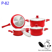 7 pcs white ceramic cookware set pressed aluminum nonstick frying pan and pot