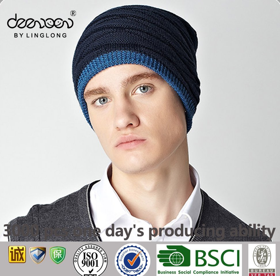 Wholesale China Casual Warm Winter Men Hat Cap Beanie Knitted Hat