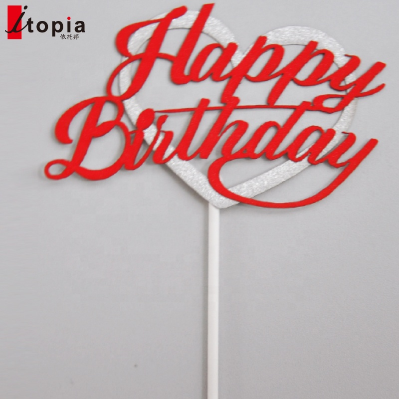 Happy birthday cake topper decoration Silver heart happy Birthday acrylic cake topper