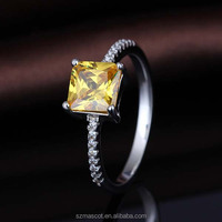 Alibaba Wholesale 925 Sterling Silver Square Yellow Stone Rings