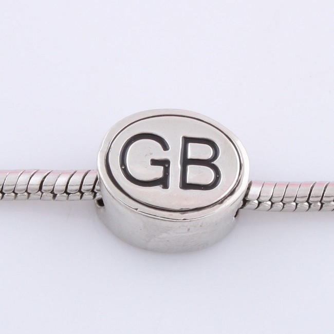 Wholesale silver color plated metal alloy custom logo beads