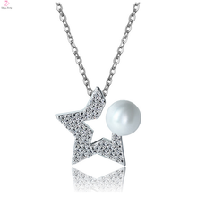 925 Sterling Silver Pearl Pendant Necklace Jewel For Women