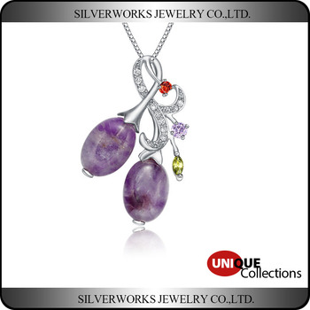 2016 wholesale jewelry pendant design 925 Silver Pendant With two stone Purple Stone for women