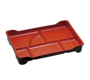 Double color A5 melamine 6 divided bento plate for Japanese food