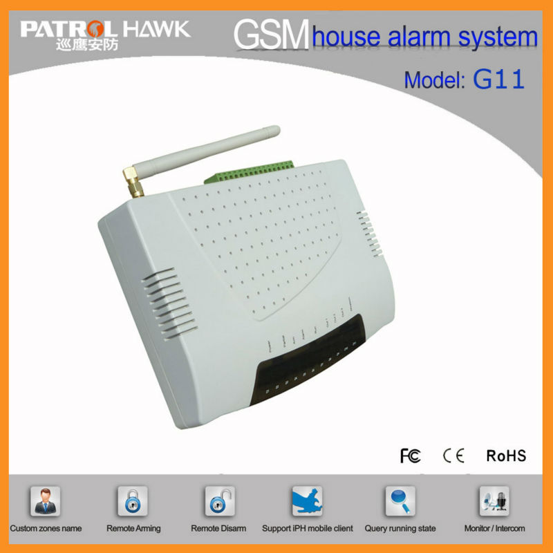 GSM Quad Band Home Alarm Jammer with 12 Wireless Zones & GSM Signal Weak Alarm G11