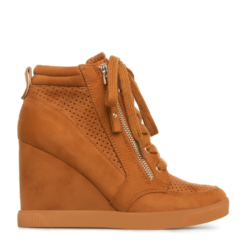 6021 custom design shoes !wedge heel kid suede zipper and lace up camel color rubber sole comfort women winter ankle <strong>boots</strong>