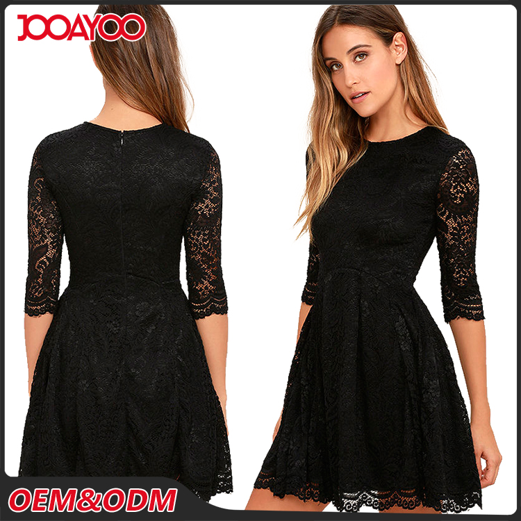 2016 Fashion Party Short Sleeve Elegant Midi Woman Dresses Black Girls Lace Evening Dress