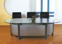Fashion design oval glass top conference table for meeting room