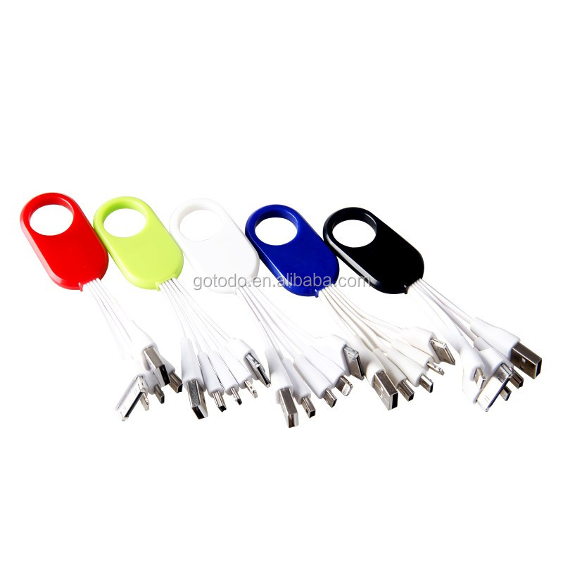 3 in1 custom OEM logo keychain usb data PVC line cable for Android