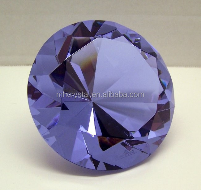 Purple Crystal Glass Paperweight Diamond Shaped Gem MH-9435