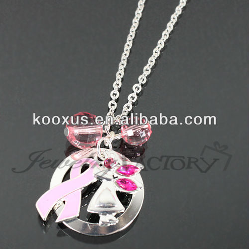 Pink Ribbon/Angel Charm Necklace jewelry