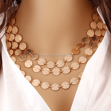 PX088 sexy saudi gold coin fashionable necklace multi-layer metal clothing accessories sweater chain wholesale indian jewelry