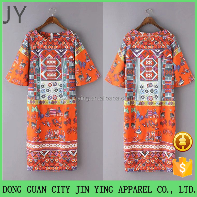 China Product African Printed Pattern Design Dresses 3/4 Sleeve Prom Dresses Designs Fat Ladies