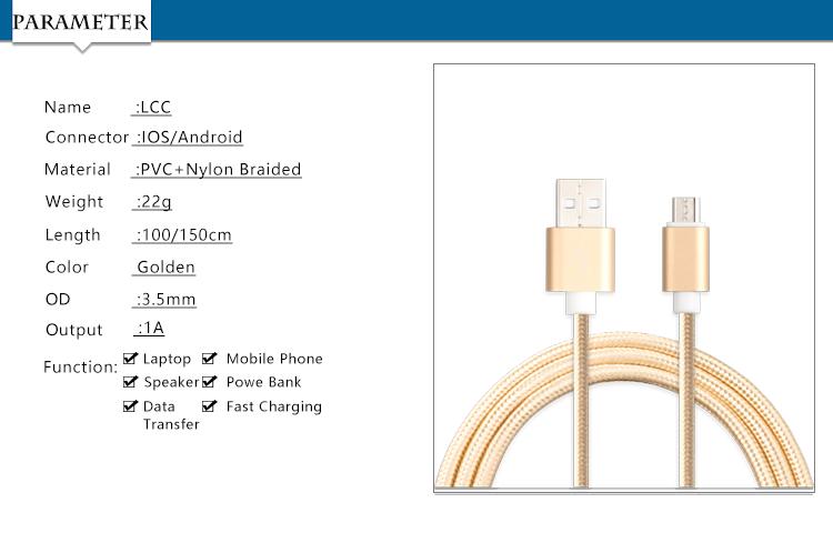 Настроить Логотип USB Кабель Мобильной Передачи Данных Линии 100 см Нейлон Micro USB Кабель Кабель для Передачи Данных