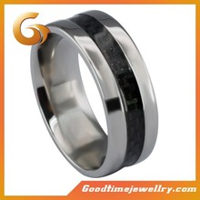 2015 male stainless steel black carbon fiber ring jewelry