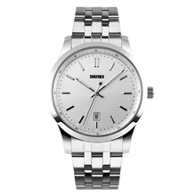 stainless steel men watch classic silver wristwatch customised man quartz watch