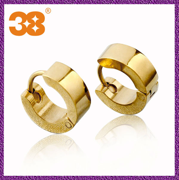 Fancy design gold no hole big gold brand name pure gold earring