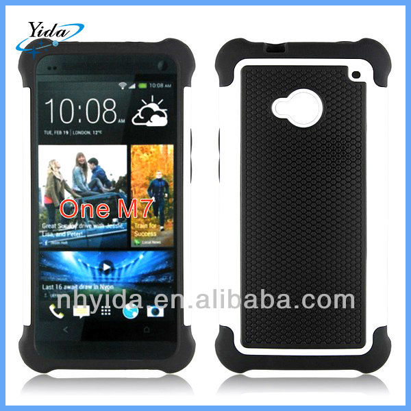 Luxury Basketball Texture Phone Case For HTC One M7 PC + Silicone Case For HTC One M7