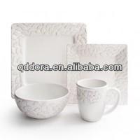 Porcelain Embossed Dinner Set, High Quality Embossed Dinner Set