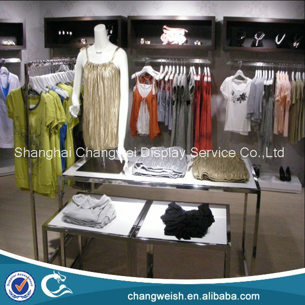Mirror stainless steel shop display gondola for clothing , clothes rack gondola and table design