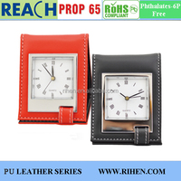 Unique Folding CE PU Leather Table Travel Analog Alarm Clock for Pocket