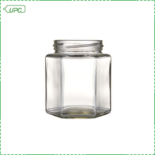 Custom design hexagonal wide mouth glass jar for food storage