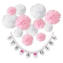 Amazon New Style 12 Paper Pom Poms It is a Girl Set Paper Hanging Baby Shower Banner