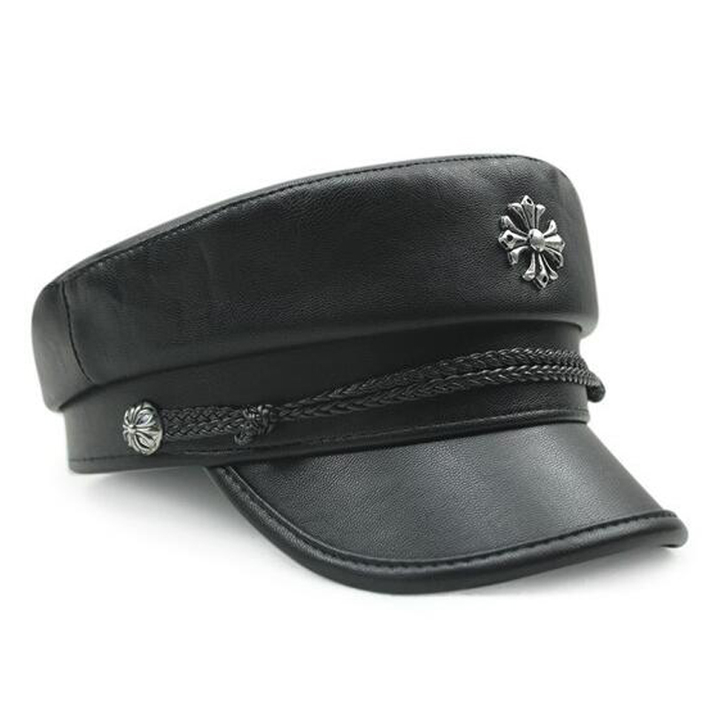Brand custom fashion black wool and leather military beret cap hat with metal logo and braid