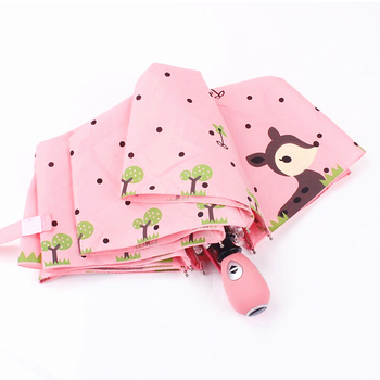 cute cartoon deer automatic 3 folding umbrella
