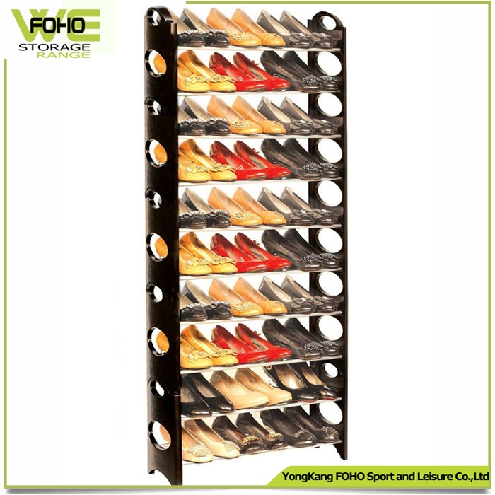 2016 hot selling 50 pair shoe rack with PP plastic and iron tube shelf plastic shoe rack