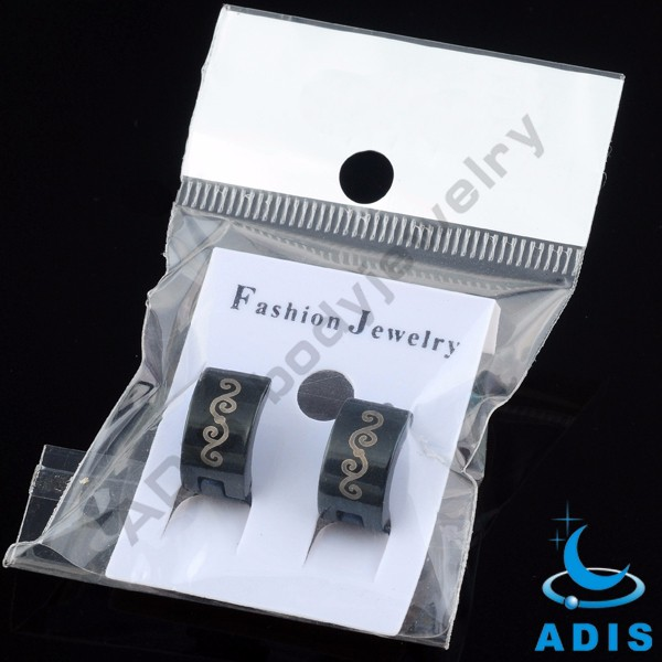Free samples surgical steel jewelry black wide cheap hoop earrings