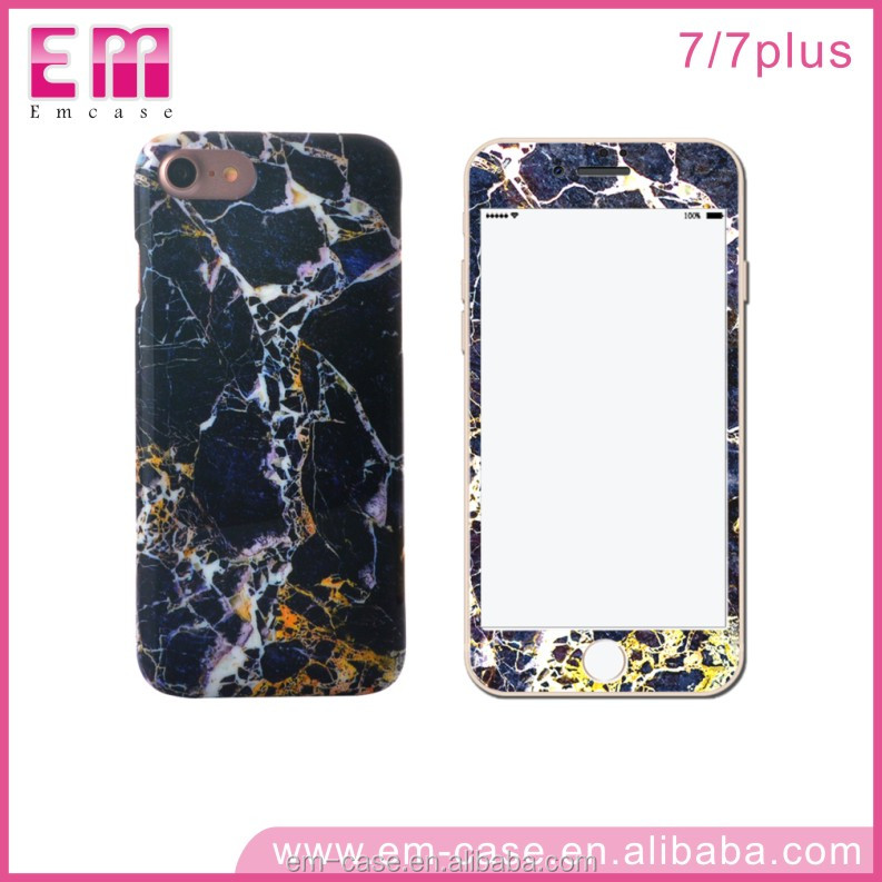 For iPhone 7 IMD Rock Phone Cover/Full Protective Phone Shell Case for iPhone/PC Marble Case Cover for iPhone 7
