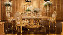 Luxury Gold Leaf Furniture, Rectangular Dinning Table For Eight People, Exquisite Wood Carved Dinning Room Furniture Set
