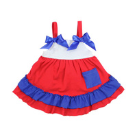 Red white blue stripes July 4th patriotic apparel baby girls cotton dress