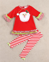 New Arrival Santa Kids Clothing Sets Santa Top Stripe Trousers Girls Clothing Suits For Winter Kids Casual Wear CS80722-36