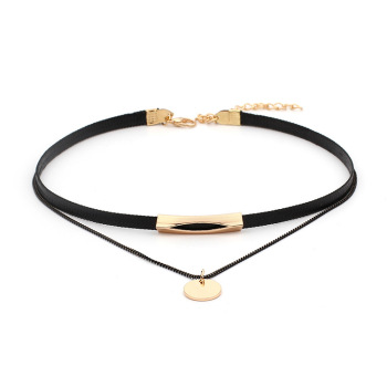 2019 new clavicle chain round sequins black multi-layer necklace female