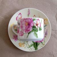 Porcelain tea cup saucer, custom printed tea cup and saucer