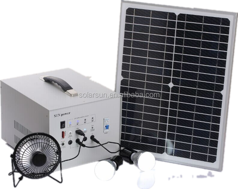 charging mobile and camera and ligthing 30w/12v home solar system for home lighting