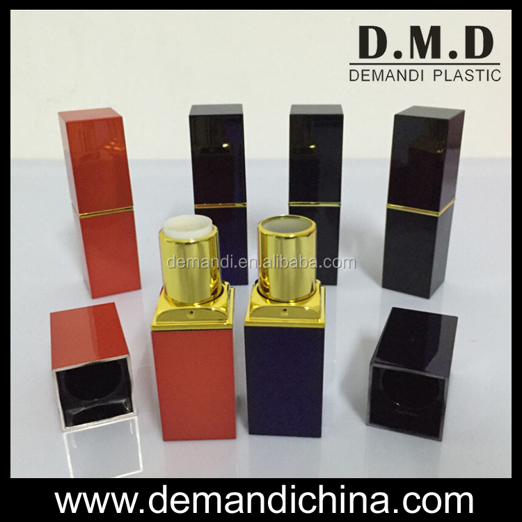 luxury fashion empty black red square lipstick tube packaging