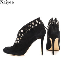 2018 Spring autumn rivet shoes Women Sexy High Heels Stiletto Ankle Boots
